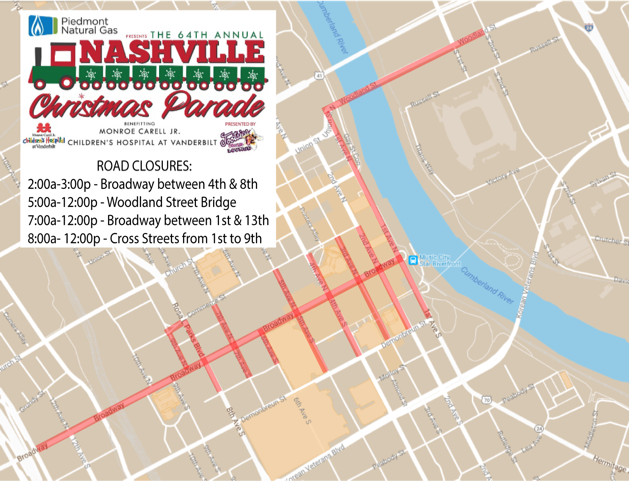 Nashville Downtown Road Closures